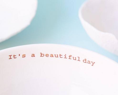handgemachte Porzellanschale-mit Botschaften bedruckt-von textpoterie